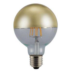 Λάμπα Ανεστραμμένου Καθρέπτη led Filament G125, Χρυσό Γυαλί, E27, 6W, 480lm, Dimmable